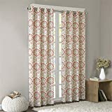 Intelligent Design Coral Grommet Curtains for Living Room, Global Inspired Fabric Window Curtains for Bedroom Family Room, Seville Print Living Room Curtains, 50×63, 1-Panel Pack For Sale