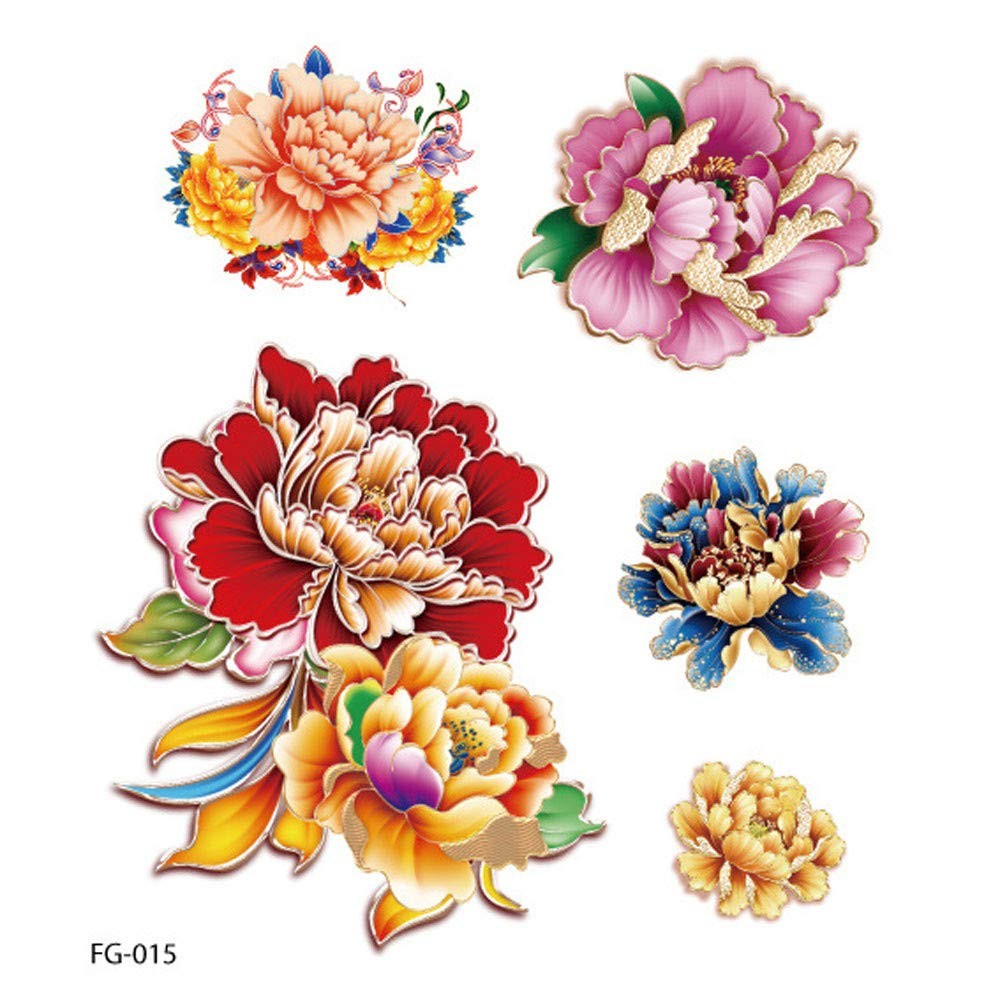 Feather Temporary Tattoos for Kids Realistic 3D Flowers Tattoos Stickers Removable Waterproof Body Art Arm Fake Tattoos Men Women Party Favors (G)
