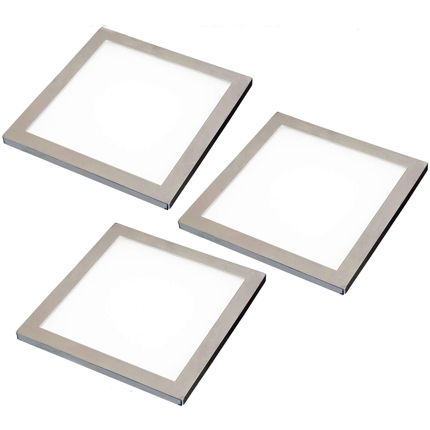 3X LED Under Cabinet/Cupboard Square Panel Kitchen Light & Driver Kit - Brushed Nickel Finish - Natural/Cool White Lighting Beam - Recessed/Flush Mounted - Counter/Worktop Down Lights - Loops