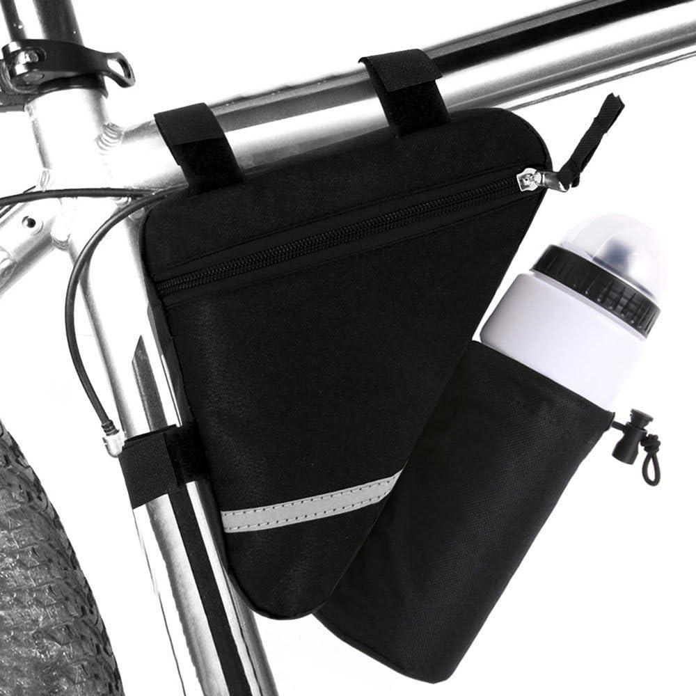 FULARR Bolsa Triángulo de Bicicleta con Bolsa Botella Agua, Bolsa Triangular de Tubo Delantero de Bici Impermeable, La Decoración Reflectante A Doble Cara Hace Que La Noche Sea Más Segura –– Negro