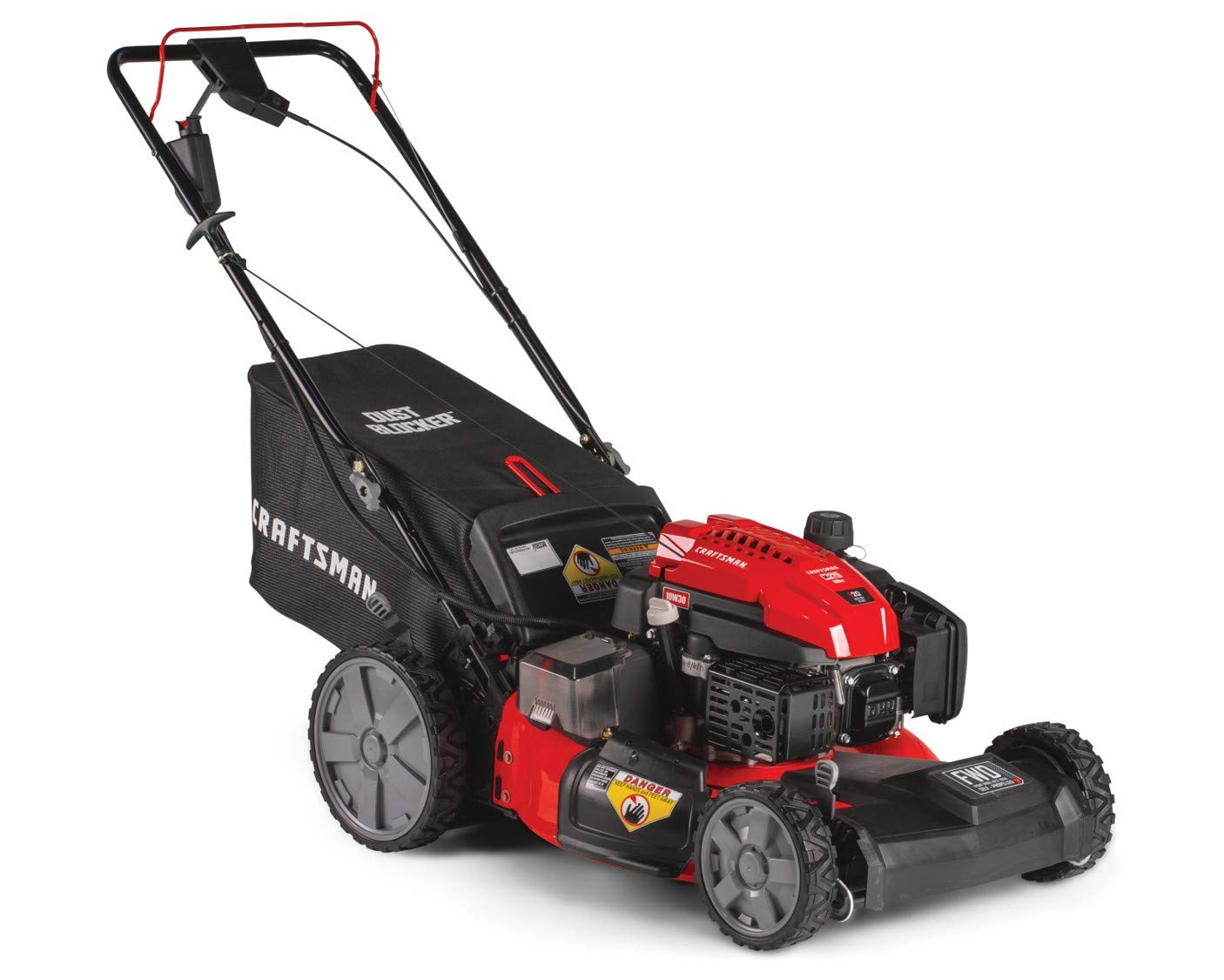 Craftsman M275 159cc 21-Inch 3-in-1 High-Wheeled Self-Propelled FWD Gas Powered Lawn Mower, with Bagger, Red 2 POWERFUL 159CC OHV GAS ENGINE: Powerful gas engine with 21-inch cutting deck to trim grass in one quick pass. 3-IN-1 CAPABILITIES: Unit has side discharge, rear discharge, and mulching capabilities. FRONT WHEEL DRIVE AND SELF-PROPELLED: Move around your yard with less effort at the propulsion speed of your choice.