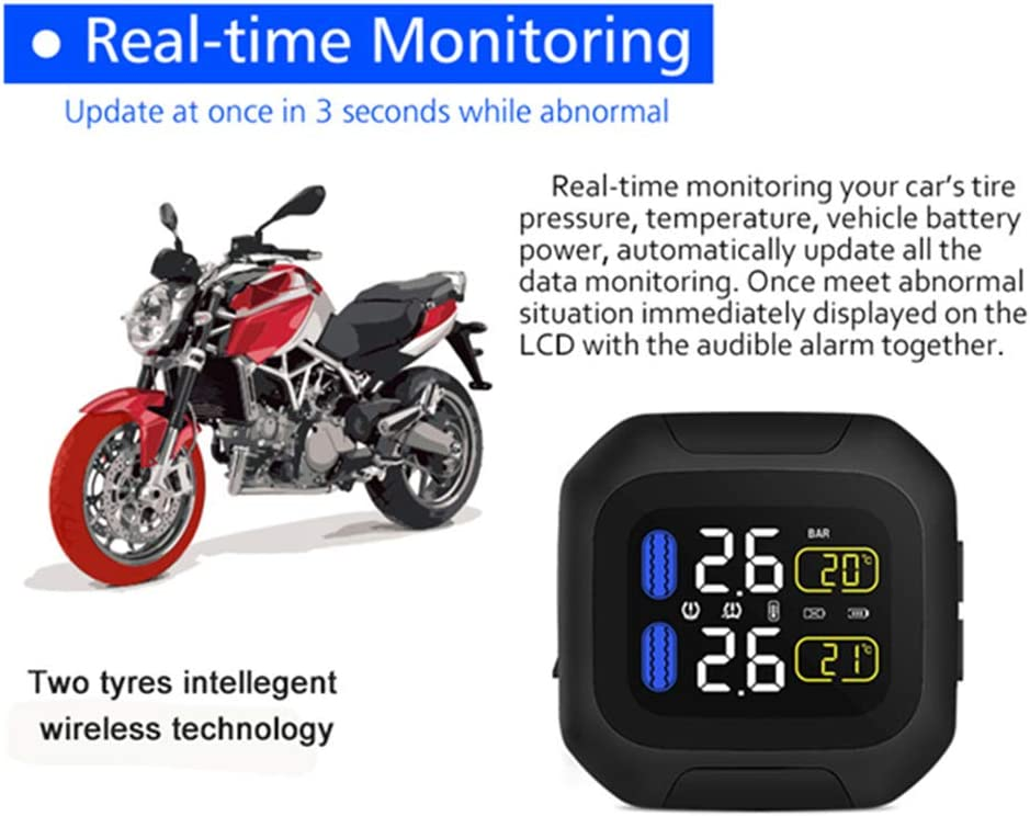 Sensor 18x13 Tire Pressure Monitoring System TPMS CAREUD Wireless tire pressure monitoring Motorcycle Tires Motor Auto Tyre Alarm Waterproof with 2 External Sensors for Two-Wheeled Motorcycle