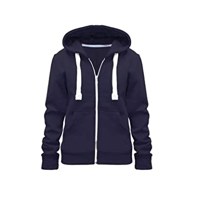 Parsa Fashions Ladies Plain Zip Up Hoodie Womens Fleece Hooded Top Long  Sleeves Front Pockets Soft d8713cf79392