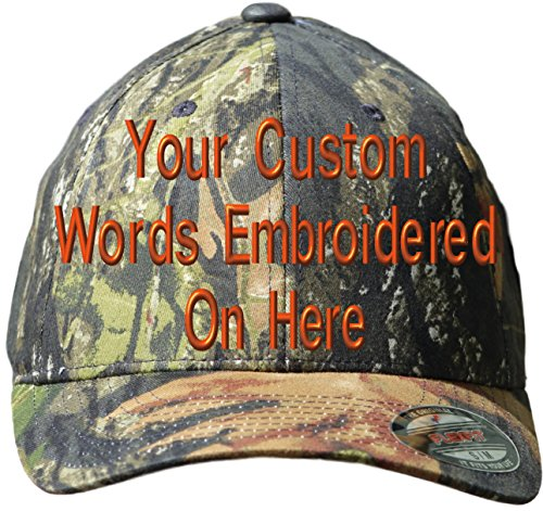 Custom Hat Flexfit 6999MOBU Embroidered. Your Own Text Curved Bill (L/XL, 6999 MOBU Mossy Oak Break Up) ()