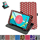 """Mama Mouth 360 Degree Rotating Stand With Cute Pattern Case for 8"""" Nextbook Ares 8 (NXA8QC116) / Flexx 8 (NXW8QC132) / Nextbook 8 (Old Version NXW8QC16G) Windows 8.1 Tablet,PolkaDot Red"""