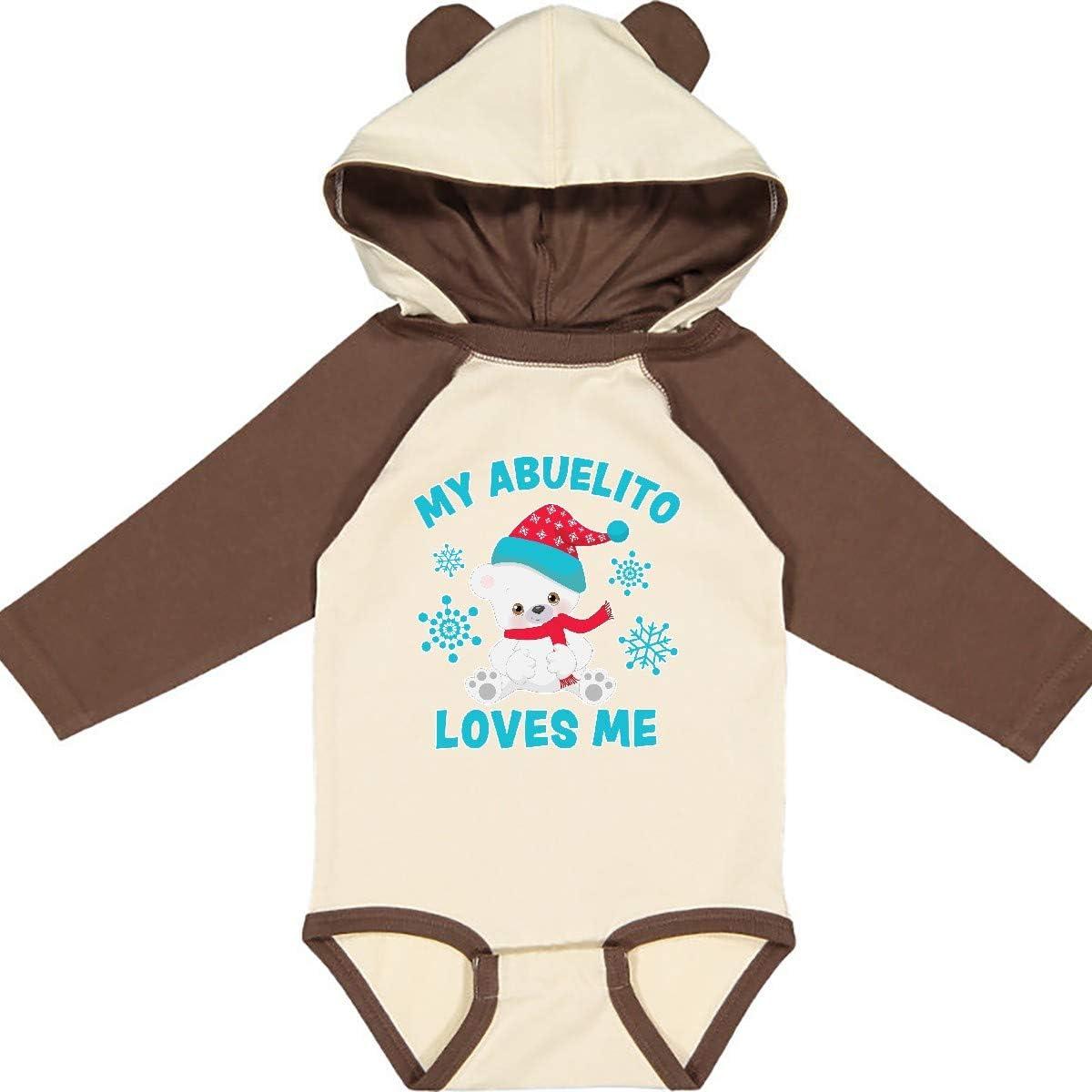 inktastic Polar Bear My Abuelito Loves Me in Santa Hat with Long Sleeve Creeper