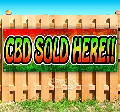 CBD Sold HERE!! 13 oz Heavy Duty Vinyl Banner Sign with Metal Grommets, New, Store, Advertising, Flag, (Many Sizes Available) by Tampa Printing