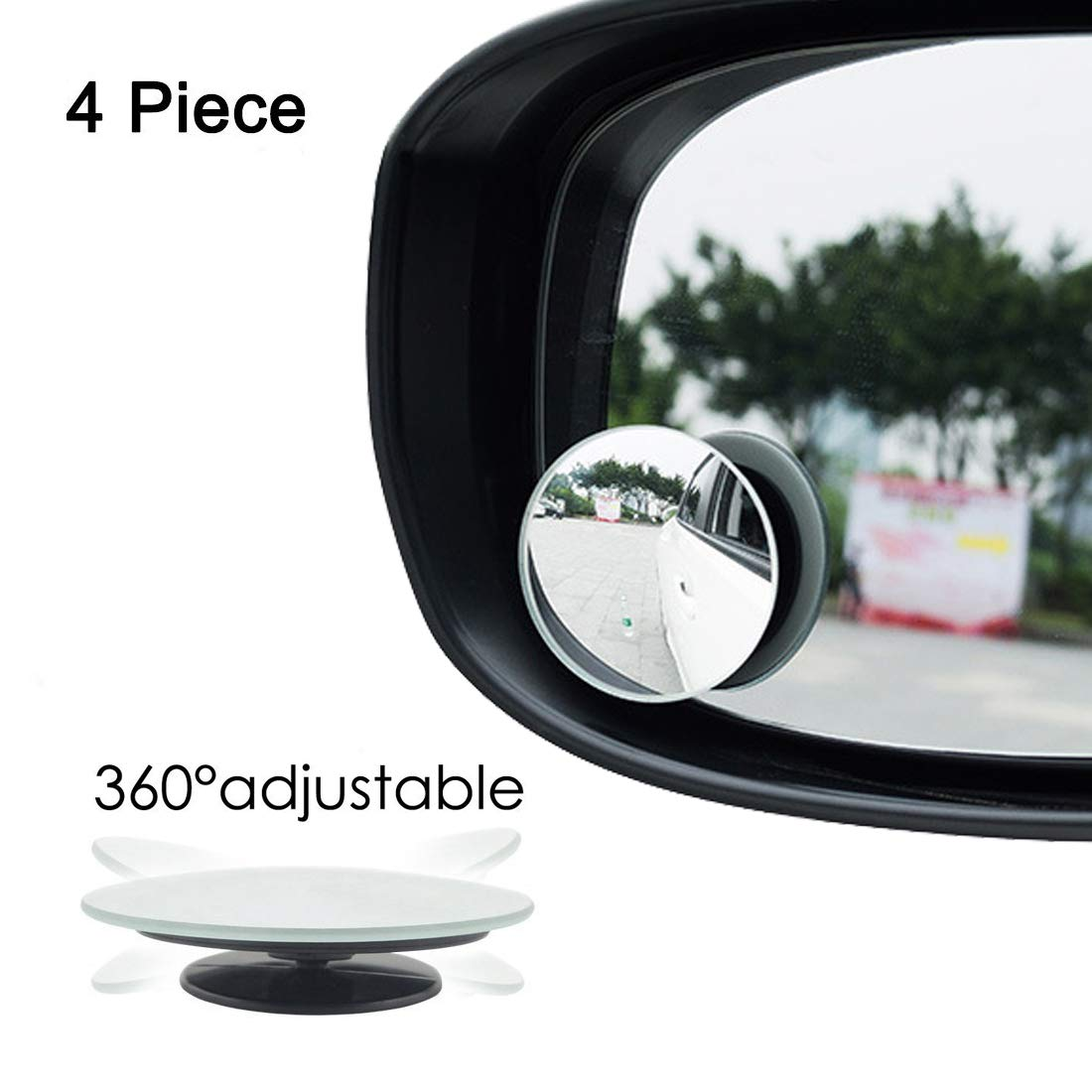 2 PACK 2' Convex Blind Spot Mirrors Wide Angle Rear View 360° Rotate + 30° Sway Adjustabe Car SUV Stick On Lens Busy