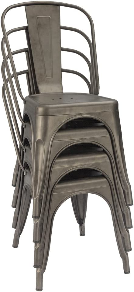 Furmax Metal Dining Chair Indoor-Outdoor Use Stackable Classic Trattoria Chair Chic Dining Bistro Cafe Side Metal Chairs Set of 4 (Gun): Home & Kitchen