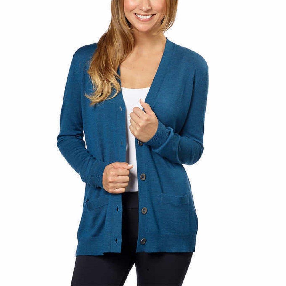 K.S Kirkland Signature Ladies 100% Extra Fine Merino Wool Cardigan (XL, Blue)