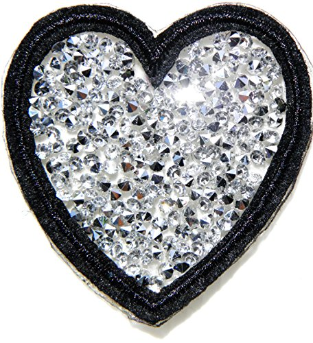 Love Heart Valentine Day Crystal Rhinestone Blink Shiny Patch Iron on Applique Embroidered Decoration Craft Handmade Baby Kid Girl Women Sexy Lady DIY Art Clothing Accessories Costume (white)