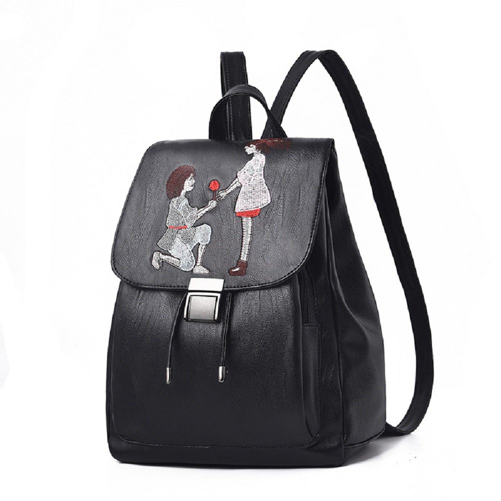 MiCoolkerキュートレザーバックパック、女性のカジュアルDaily学校バックパックLovely旅行用デイパックPurse B07CNVSJSQ Black Style4