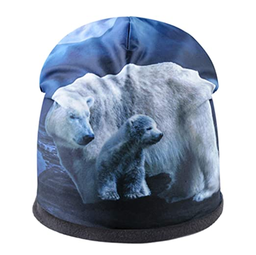 Skullies Men Beanies Animal Pattern 3D Printing Winter Thick Bonnet Hats for Women Hip Hop Cap