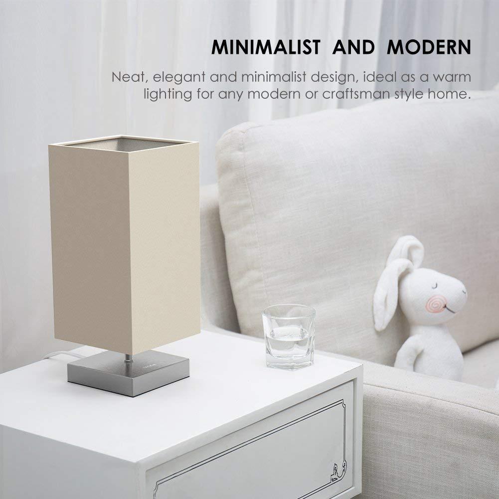 Tischlampe , Nachttischlampe Für Schlafzimmer , TECKIN Stoff  Schreibtischlampe, Minimalist Moderne Stoff Nachttisch Leuchte Für  Schlafzimmer, ...