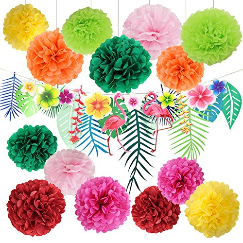 Hawaiian Luau Party Decorations Tropical Tiki Hibiscus Flowers and Flamingos Banner Large Artificial Tropical Leaves Banner Garland Tissue Paper Pom Poms Flowers for Summer Party -