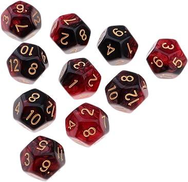 B Blesiya D12 Dados de 12 Caras para Juegos de Mesa de Tablero DND TRPG 10 Piezas - Rojo + Negro: Amazon.es: Juguetes y juegos