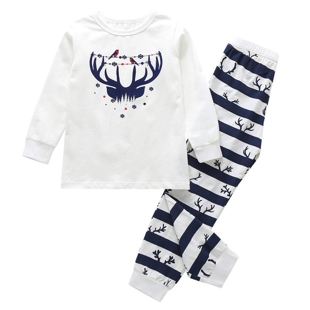 Zlolia Toddles Baby Boys Girls Elk Print Long Sleeve Shirt + Striped Color-Block Pants Christmas Clothing Set White by Zlolia-Christmas