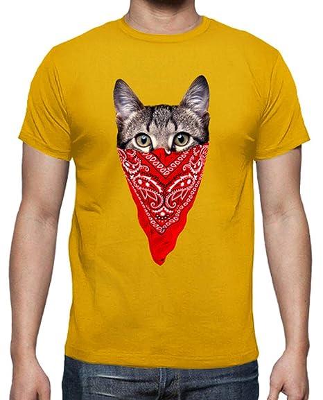 latostadora - Camiseta Gato Gangster para Hombre Amarillo Mostaza ...