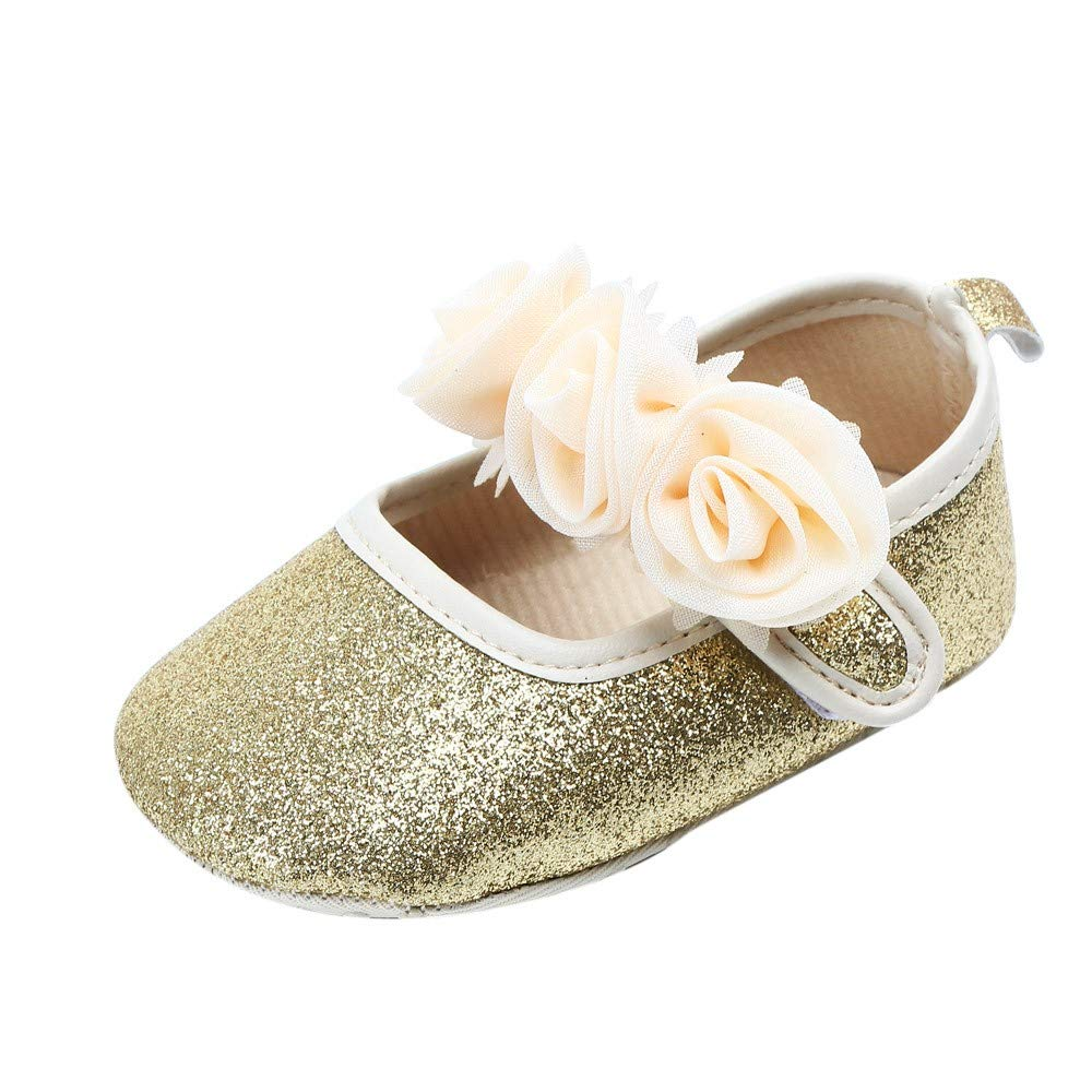 Kobay Girls Shoes, Newborn Toddler Baby Girl Floral Bling First Walkers Solid Soft Sole Shoe