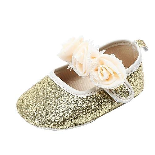 47a607688f0 Mitlfuny Niñas Bebe Zapatos para Bebé Primeros Pasos suave Suela  Antideslizantes Lentejuelas Princesa Zapatos con Flor