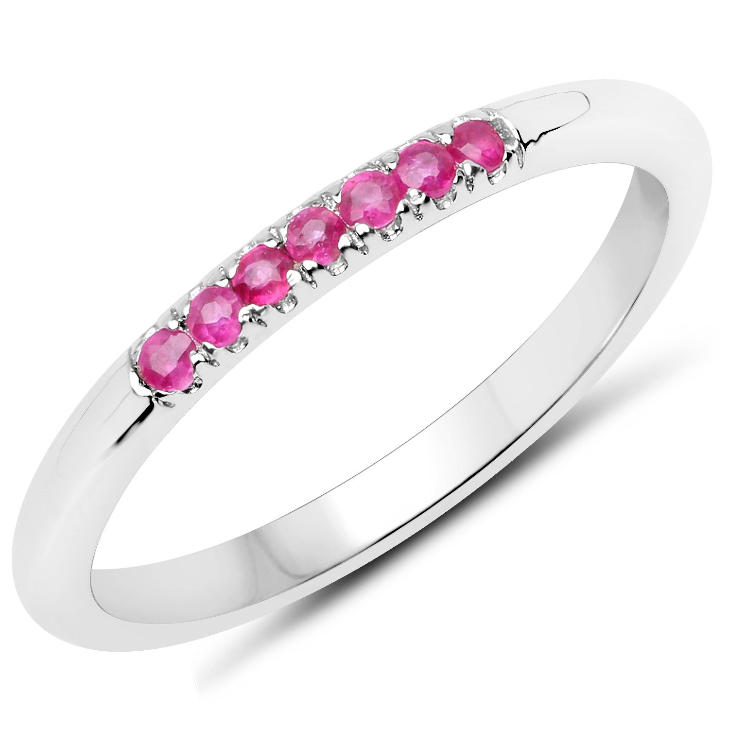 LoveHuang 0.12 Carats Genuine Ruby Stacking Ring Solid .925 Sterling Silver With Rhodium Plating by LoveHuang
