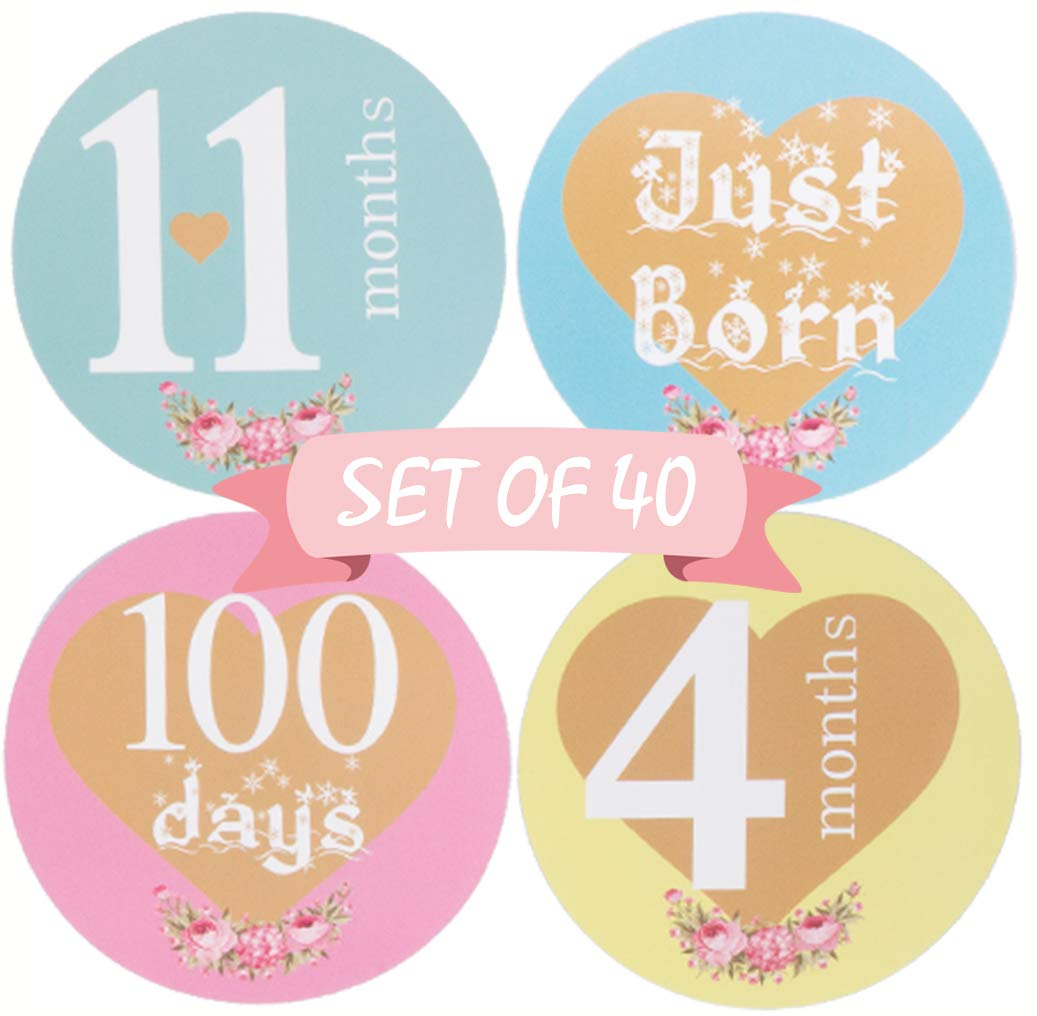 Baby Monthly Stickers - (Set of 40) Adorable Baby Milestone Stickers for Newborn Girl Boy First Year - Best Baby Shower Registry Gift or Scrapbook Photo Memory Keepsake NOVOs