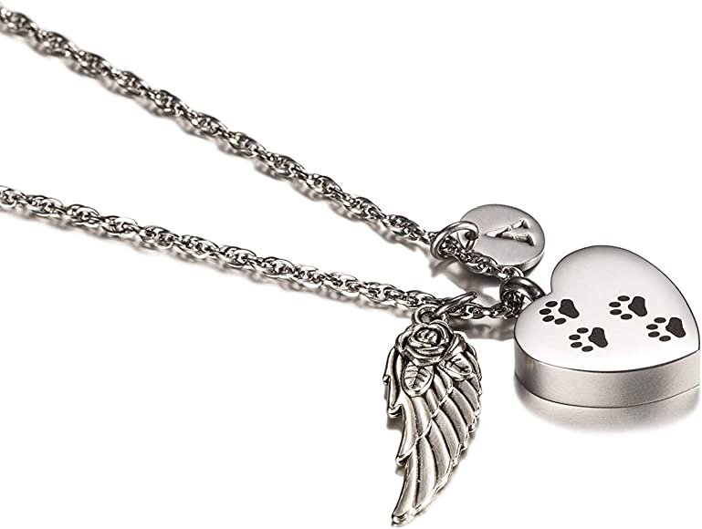 Epinki Jewelry Stainless Steel Rose Gold Heart Urn Necklace for Ashes Cremation Necklace