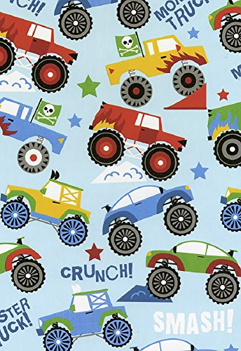 Monster Trucks Glossy Gift Wrap Flat Sheet - 24