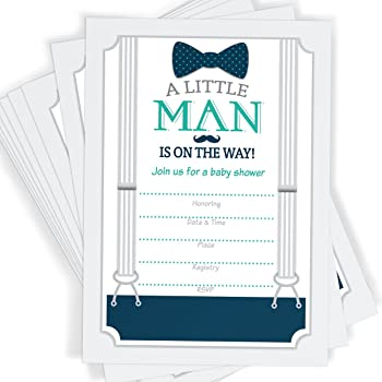 Amazon 50 fill in mustache baby shower invitations little man little man themed baby shower invitations bow tie mustache and suspenders 25 invitations with envelopes filmwisefo