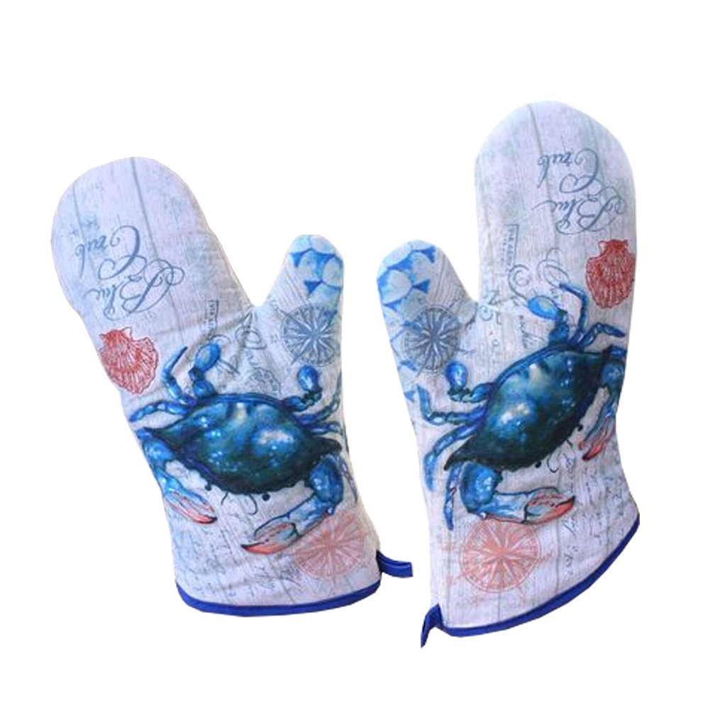 Kylin Express Set of 2 Professional Potholder Oven Mitts/Gloves Protect Your Hand Bule Crab