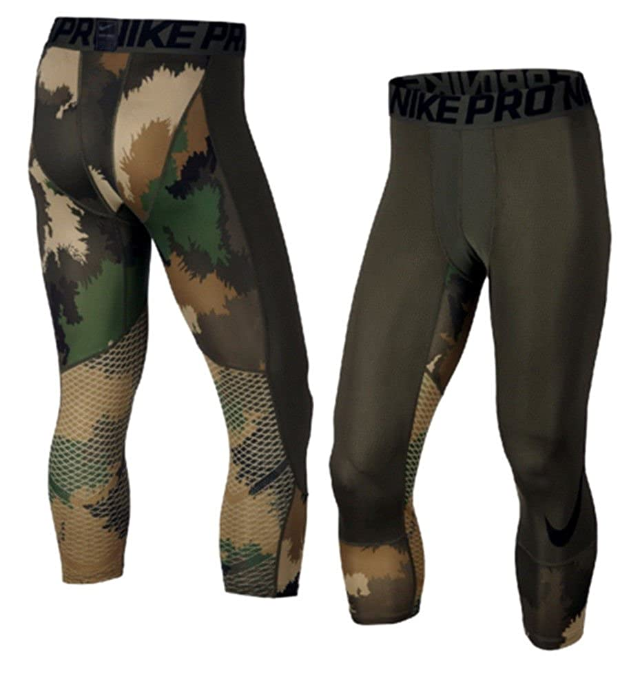 new products b4b77 78248 Nike Pro Hypercool Printed 3 4 Training Tights, Cargo Khaki Black Black, Size  SMALL at Amazon Men s Clothing store