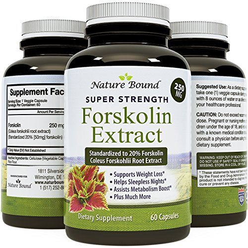 Pure And Natural Forskolin For Weight Loss - Coleus Forskohlii Root Weight Loss Pills For Men & Women - Boost Energy + Testosterone - Best Forskolin Extract To Burn Belly Fat By Nature Bound
