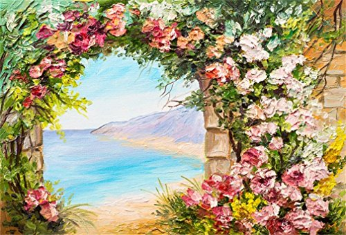 AOFOTO 5x3ft Garden Archway Background Oil Painting Abstract Blossom Flowers Photography Backdrop Overlook Seaside Beach Summer Elegant Garden Tea Party Decoration Banner Girl Woman Photo Studio Props - Tea Girl Blossom