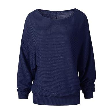 292244ffd8cde LINNUO Las Mujeres Sueltas Jersey Knit Sweater Manga Camiseta con Mangas  Largas De Murciélago Cuello Redondo Camisa Blusa Pullover  Amazon.es  Ropa  y ...