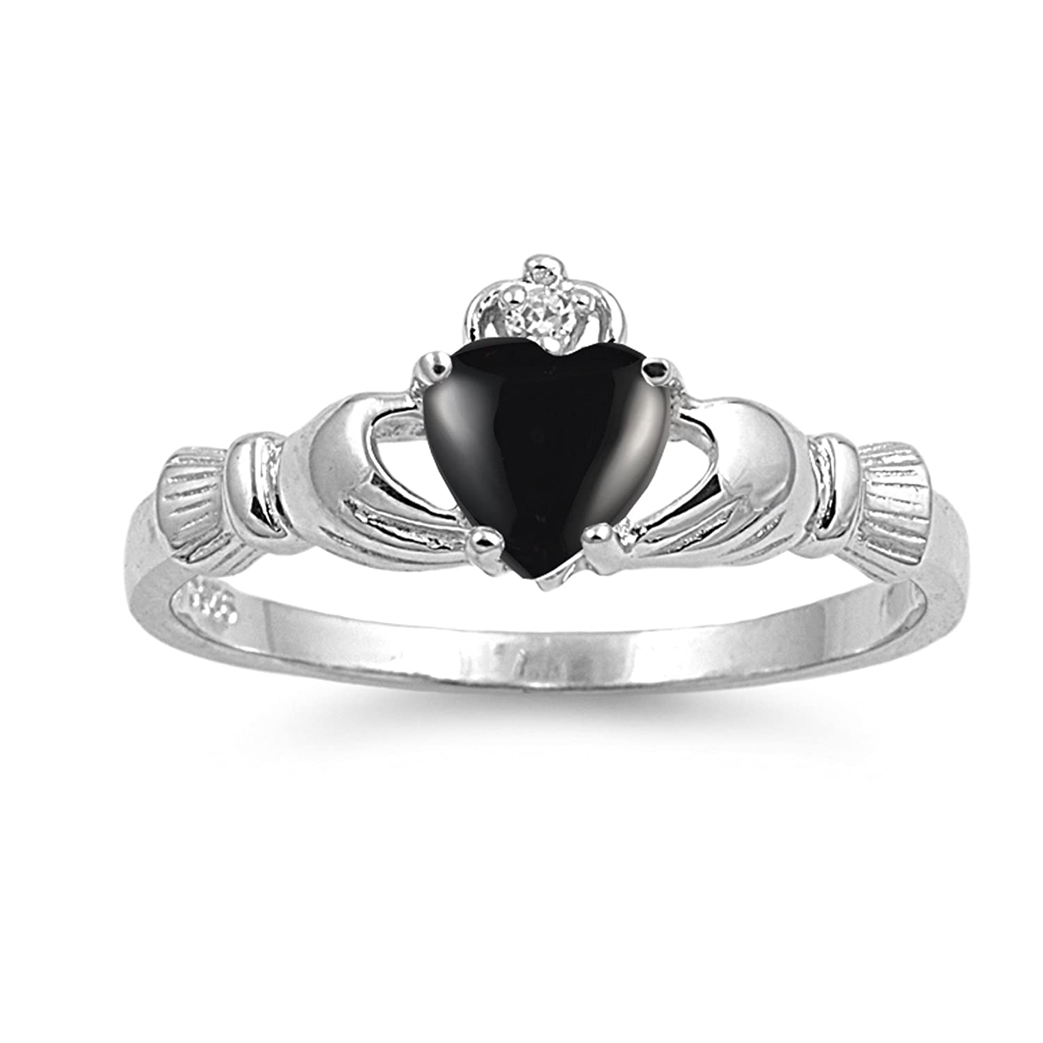 CHOOSE YOUR COLOR Sterling Silver Claddagh Heart Promise Ring Sac Silver