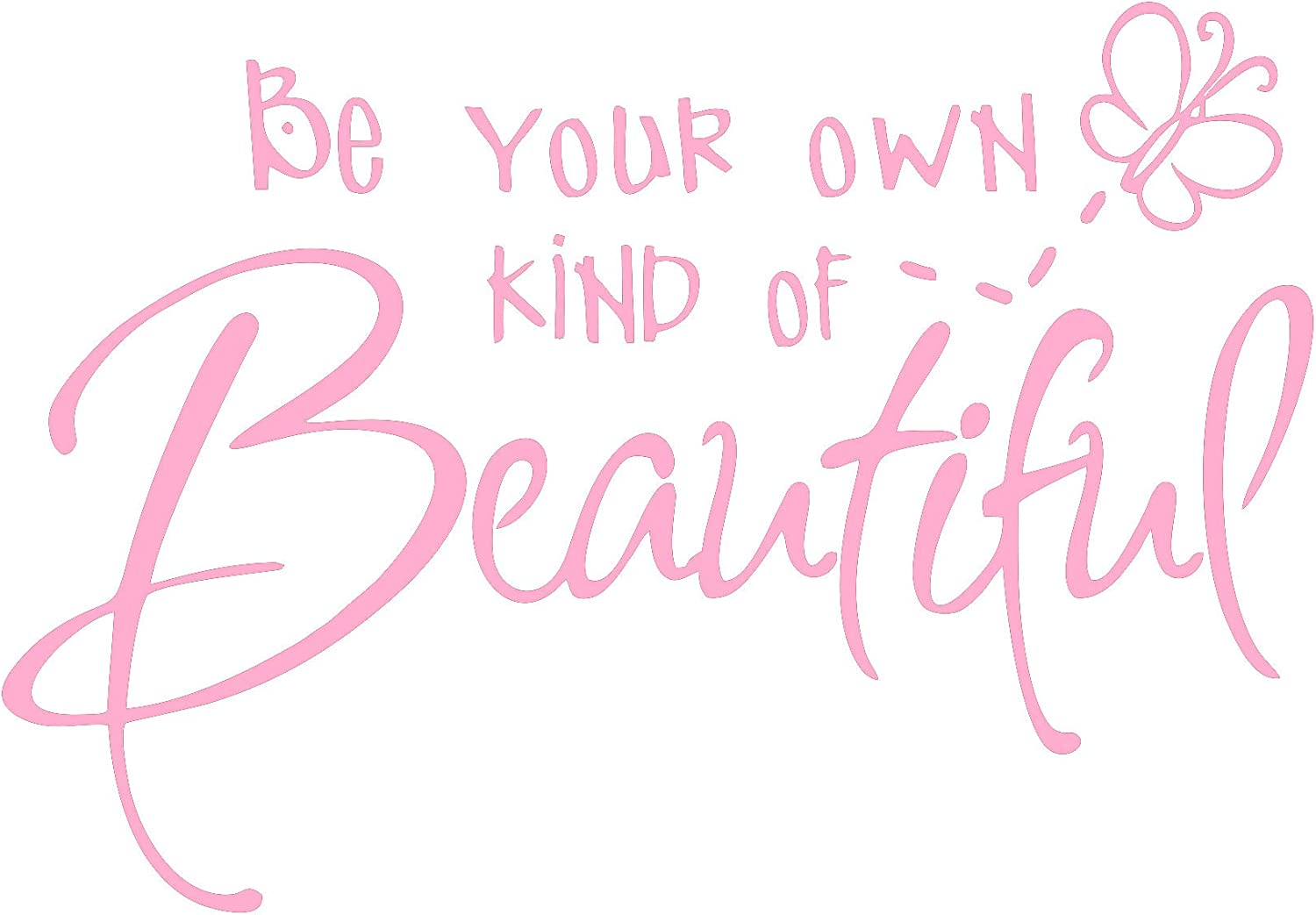 Be Your Own Kind of Beautiful Wall Stickers Quote, CUNYA DIY Vinyl Butterfly Decal Wallpaper Wall Decor for Bedroom Teen Girl Home Decoration (Pink)