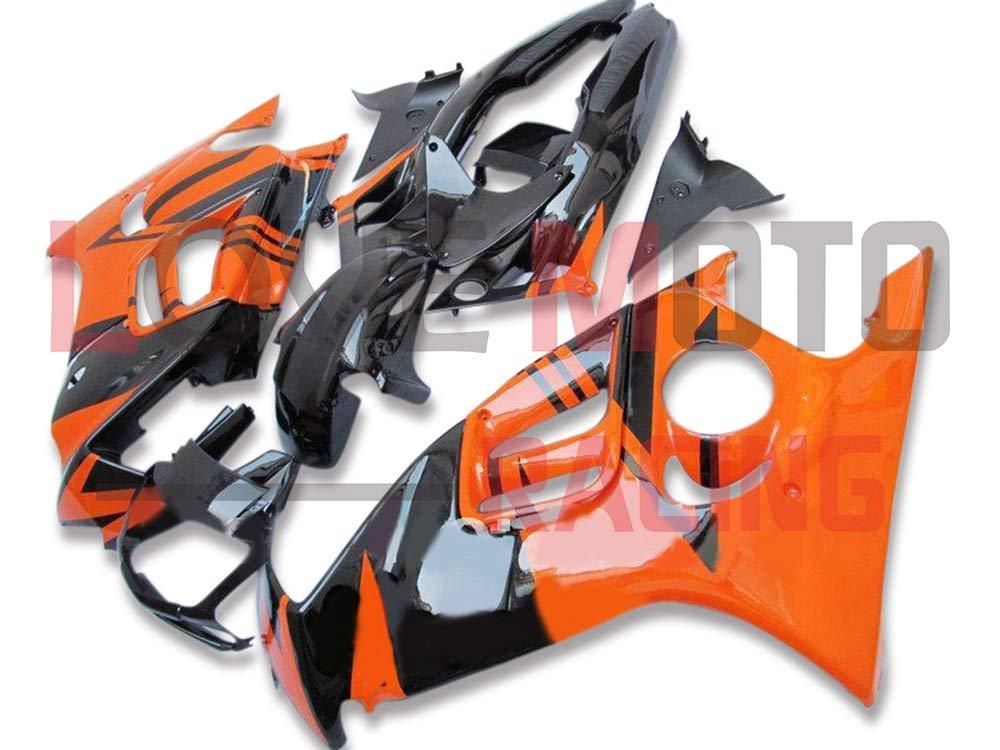 LoveMoto ブルー/イエローフェアリング ホンダ honda CBR600F3 CBR600F 1997 1998 97 98 CBR 600 F3 ABS射出成型プラスチックオートバイフェアリングセットのキット ブラック オレンジ   B07KBWHB91
