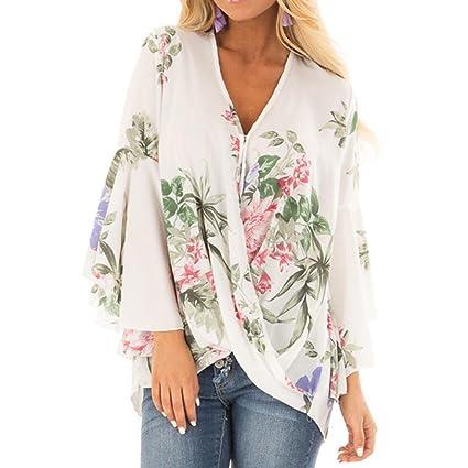 Ba Zha Hei-Las mujeres abren con cuello en V las camisas de impresión Las