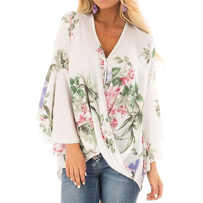 Ba Zha Hei-Las Mujeres abren con Cuello en V Las Camisas de impresión Las Camisas largas Cubren con Volantes la Blusa Ocasional Irregular de Camisetas Brief ...