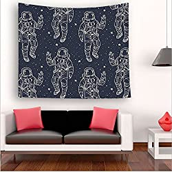Nalahome-Outer Space Sketchy Astronaut in Sky Stars Cosmic Spacesuit with Raised Hand Salute Dark Blue White tapestry psychedelic wall art tapestry hanging hippie 35.4W x 35.4L Inches 59W x 59L Inches