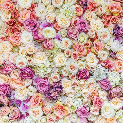 CSFOTO 4x4ft Background for Wedding Flower Wall Ceremony Rose Blooming Photography Backdrop Pink Purple Happy Blessing Engaged Bride and Groom Photo Studio Props Wallpaper