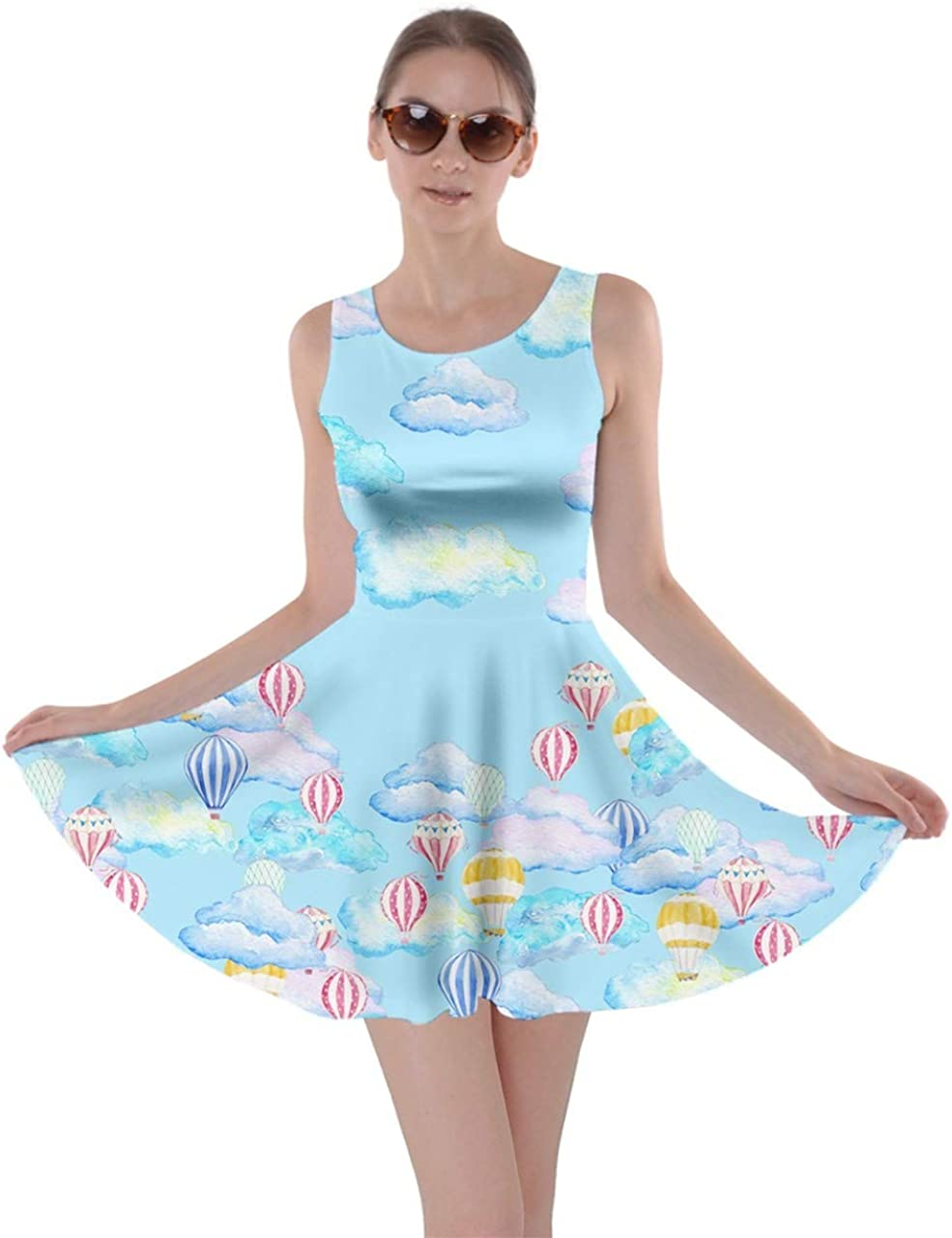 CowCow Womens Party Costume Bears Print Kawaii Cute Ghosts Skater Dress, XS-5XL
