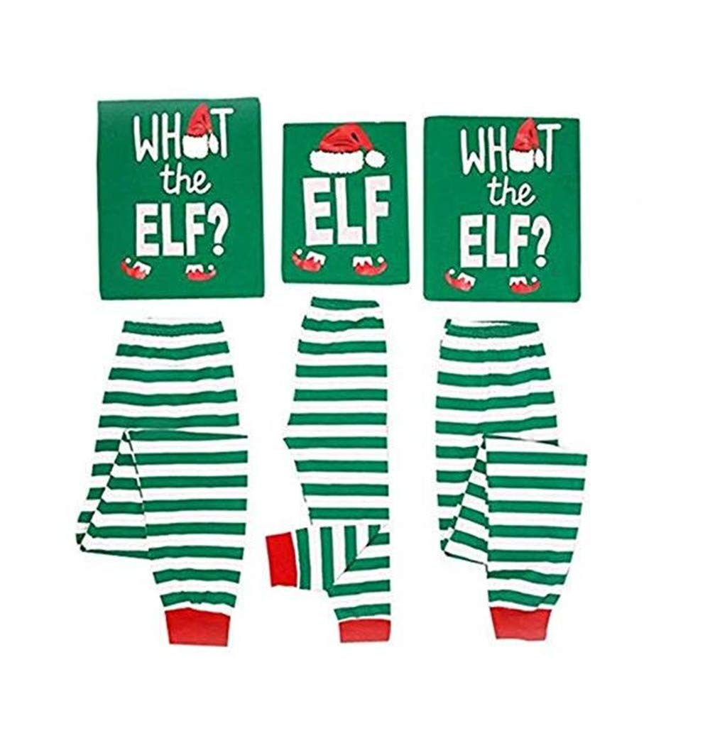 Jiuhexu Family Matching Christmas Pajamas Sleepwear Letter Print Striped PJs Set