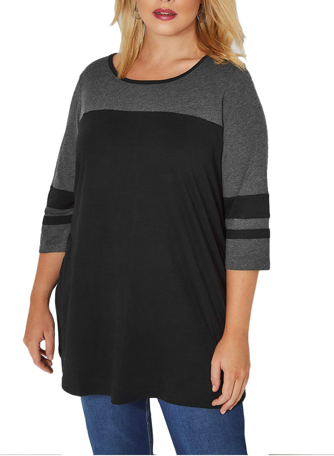 Dearlove Women's Plus Size Striped 3/4 Sleeve Color Block T Shirt Scoop Neck Casual Loose Flare Tunic Tops Blouse Black 5X