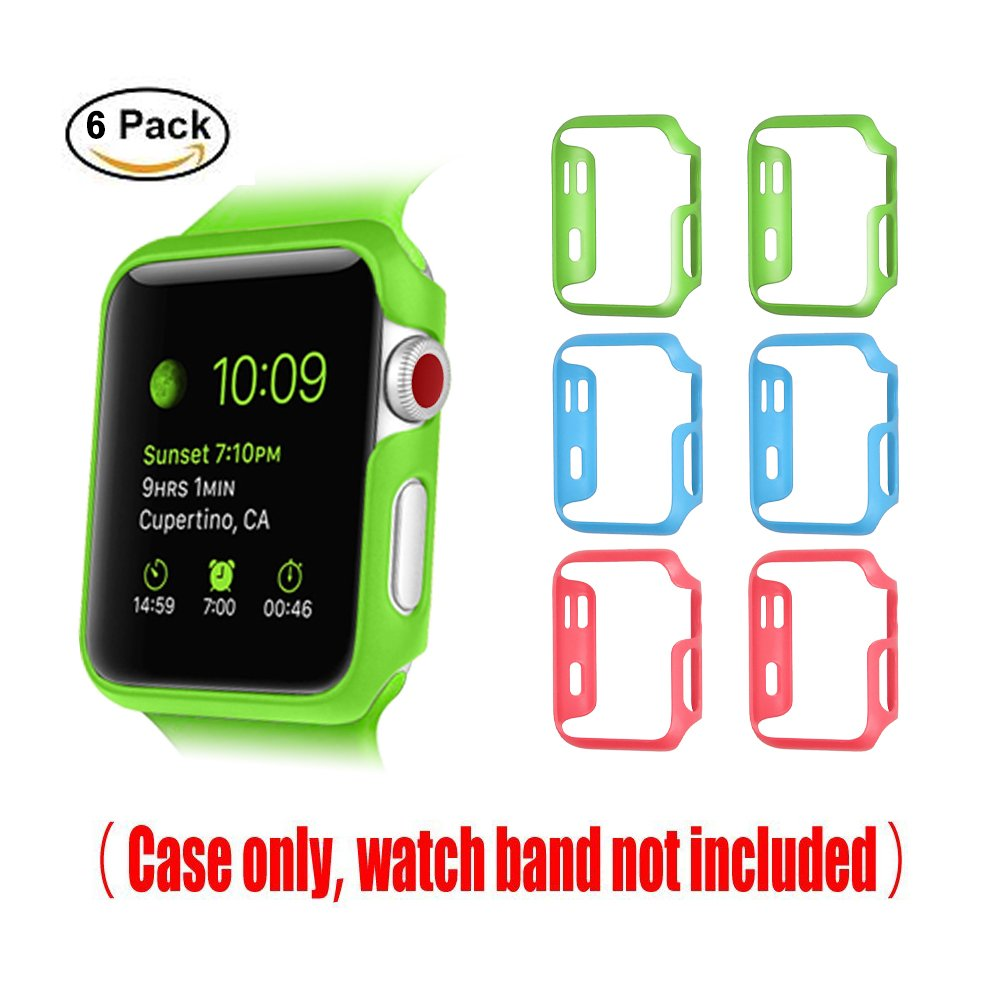 [3 Color Pack] Fintie for Apple Watch Case 38mm, Slim Lightweight Polycarbonate Hard Protective Bumper Cover for All Versions 38mm iWatch Series 3 (2017), Series 2 1 Sport & Edition - Multi Color C by Fintie (Image #3)