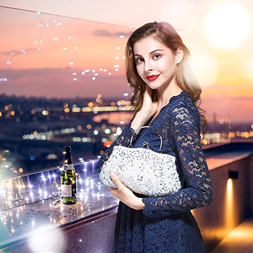 Exquisite Seed Seed Soft Bead Evening Various Antique Colors MASEE VENI Floral Evening Sequined White Gift Bag Bead Ideas Sequin Clutch Leaf Clutch Collection Handbag nwI7SqP