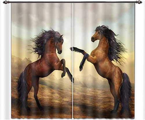 LB Horse Decor Room Darkening Thermal Insulated Blackout Curtains,Standing Horse 3D Window Curtains Drapes