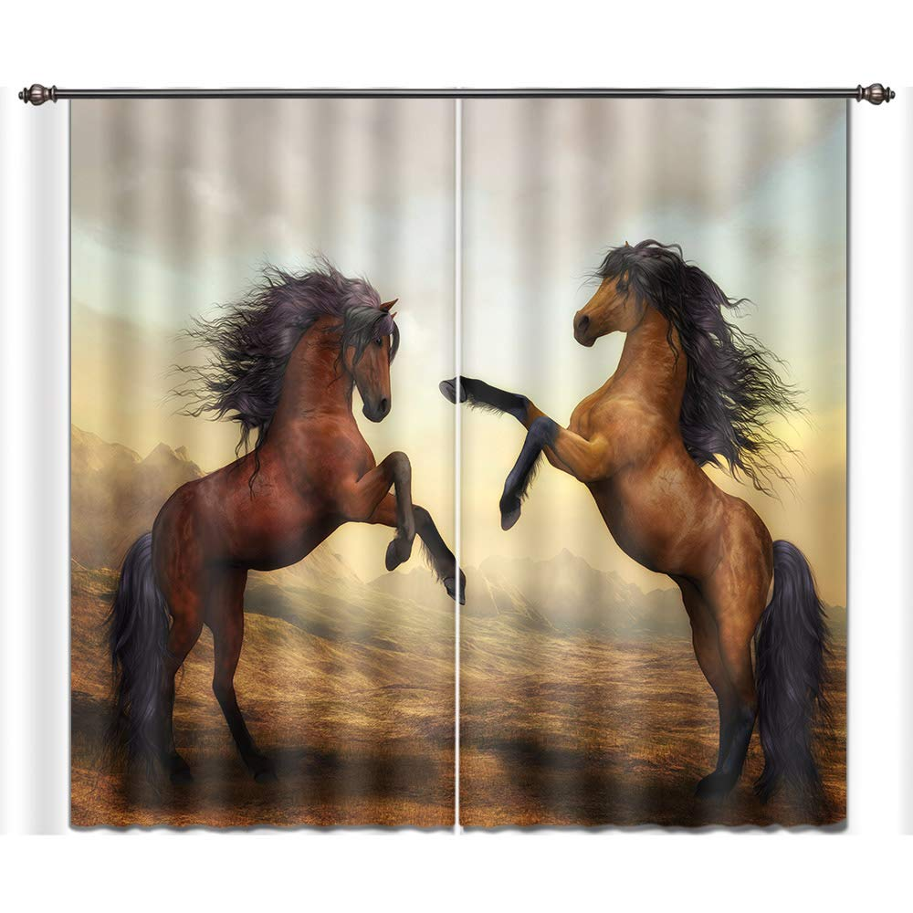 LB Teen Kids Room Darkening Blackout Window Curtains,Standing Horses Thermal Insulated Window Treatment Living Room Bedroom 3D Window Drapes 2 Panels Set,56W x 65L Inches