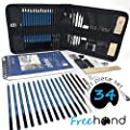 Professional Art Set - Drawing, Sketching and Charcoal Pencils. 100 Page Drawing Pad! Kneaded Eraser included. Art Kit for Kids, Teens and Adults