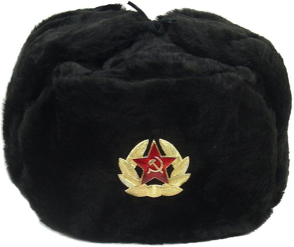 Hat Russian Soviet Army KGB Military Cossack Ushanka Black Size S (Metric 56)